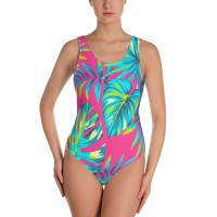 tropical colorful summer print  onepiece swim suite