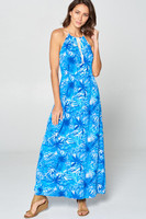 Tropical  blue leaf maxi dress