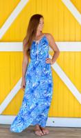 Tropical  blue leaf maxi dress