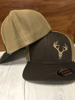 FLEXFIT mesh back onesize buck skull hat brown on Khaki