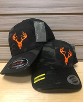 Snap Back or Flex Fit neon orange buck skull multi camo black hat