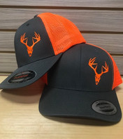 Snap Back or Flex Fit neon orange charcoal gray  buck skull  hat