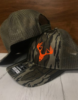 bottomland camo neon orange buck skull  mesh back snapback hat