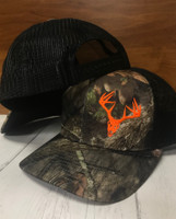 mossyoak camo neon orange buck skull  mesh back snapback hat