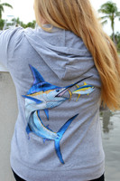 Copy of PRE ORDER Gray Women's L/S Marlin Zip Hoodie Jacket with swarovski crystals