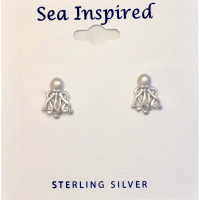 small octopus earrings studs  sterling silver