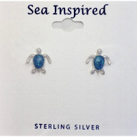 BLUE ENAMEL TURTLE POST EARRINGS  sterling silver