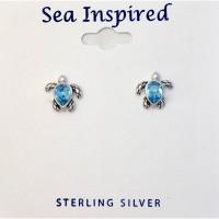 BLUE TURTLE POST EARRINGS PRESCO SWAROVSKI ® CRYSTAL
