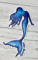 Blue mermaid sticker  4.5 inch  tall