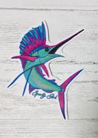 colorful sailfish  sticker  4.5 inch  tall