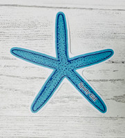 Blue Starfish   sticker  4.5 inch  tall
