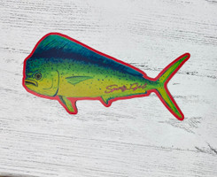 mahi mahi with pink border  sticker 5  inch  wide