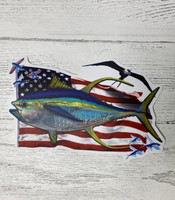 TUNA with american flag  sticker 4.5  inch  wide