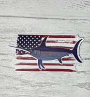 SWORDFISH with american flag  sticker 4.5  inch  wide