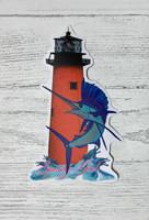 Jupiter lighhouse with sailfish  sticker 5 inch  tall