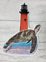 SEATURTLE with  Jupiter lighhouse  sticker 6 inch  tall