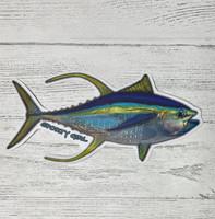 6 inch wide yellowfin TUNA   sticker