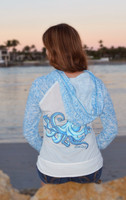 Octopus blue and white two toned jersey raglan long sleeve zip hoodie
