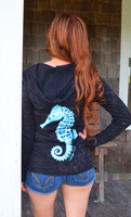 medium only left  fitted SEAHORSE on black vintage lightweught zip hoodie