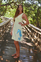 HighLighter yellow  dress with blue seahorse