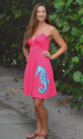 Coral Spaghetti strap Dress with blue seahorse