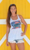 American Flag Blue Crab Racerback tank