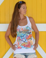 Signature Sporty Girl reef tank top - seaturtle, hogfish, mutton, lobster conch yellowtail