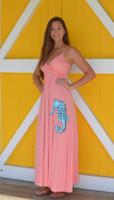 Coral  MAXI  SEAHORSE dress