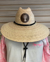 LOBSTER leather patch  Straw Hat