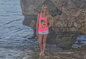 Neon Pink Dolphin Racer Back Tank