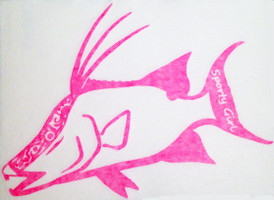 Neon Pink Hogfish Decals