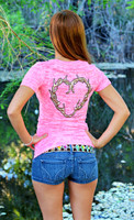 XLarge only-Neon Pink Fashionable Antler Heart Burnout Shirt
