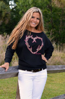Antler Heart off shoulder longsleeve -only medium and XL left in stock-
