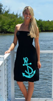 Longer Length Aqua Anchor onesize dress