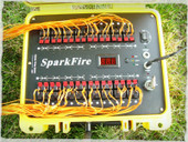 SparkFire with igniters in the cues. Shoot your next fireworks display safely and look like a professional.