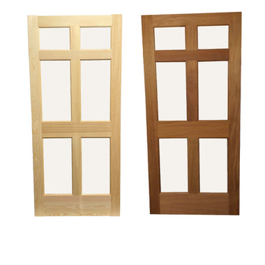 Pine door and Mahogany door.  Comparison of the species.