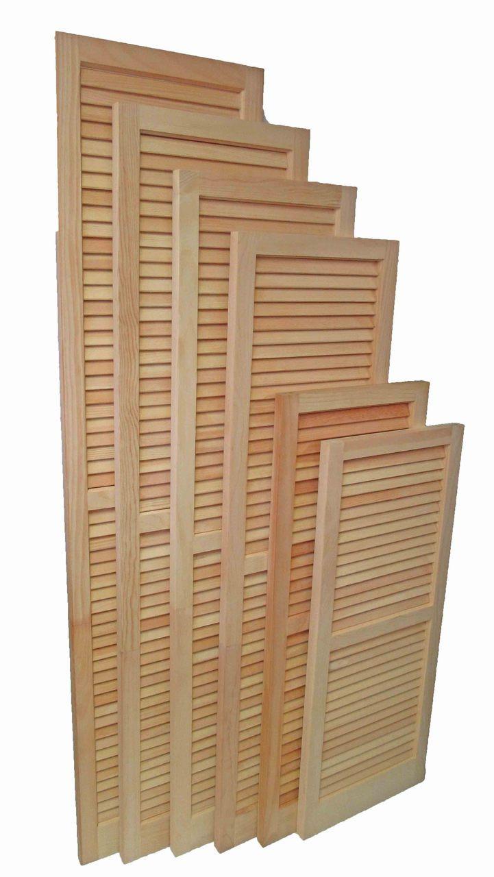 Louvered Wooden Shutter Pair