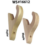 "Drapery Bracket for a 1-1/2"" to 1-3/4"" Rod in Maple or Poplar"