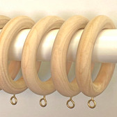 Smooth Unfinished Wooden Drapery Rings