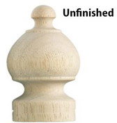 Unfinished Wooden Sherwood Finial, pair