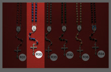 Blue Glass Rosary R33