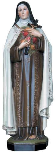 """Saint Thérèse - Standing, Hand-painted. Saint Therese of Lisieux, """"the Little Flower."""""""
