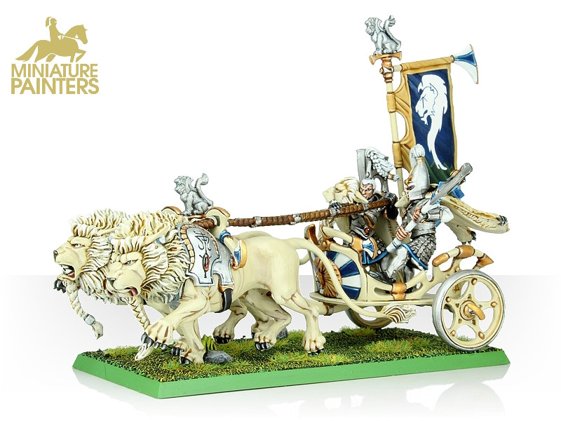 GOLD White Lion Chariot