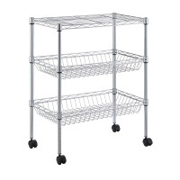 Utility Wire Cart 3 Tier With Wheels 60 x 35 x 71 cm Chrome - HTC-WR608
