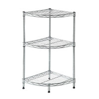 Corner Wire Rack 3 Shelf Chrome 35 x 70 x 35 cm - HTC-WR610