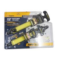 "2Pc 12' X 1.5"" T-Hdl Ratchet Tie Downs ""Xl Grip"" Logo - CGL-84014"