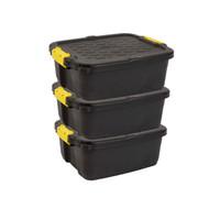 Heavy Duty 24 L Storage Box, 50L x 40W x 20H cm Made in UK, Strata, 3 pcs Pack, - HTC-STR-758
