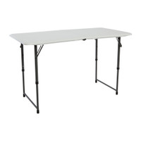 Lifetime 4 Ft Height Adjustable Fold-In-Half Table, Rectangle, Residential, White Granite Colour, LFT-80317