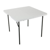Lifetime 37 Inch Square, Fold In Half Table, Light Commercial, 2 Year Limited Warranty, White Granite Colour, LFT-80100