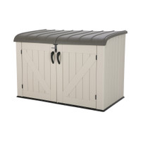 Heavy Duty Horizontal Storage Shed, 75 Cubic Feet, 5-Year Limited Warranty, Desert Sand Colour Box, Brown Lid LFT-60170